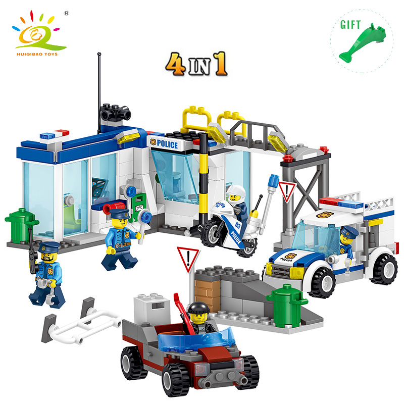 HUIQIBAO TOYS 4 in 1 City Swat Police Station Building Blocks Figures Compatible Legoe City Boys Girls Gifts Enlighten Brick Toy 407pcs sets city police station building blocks bricks educational boys diy toys birthday brinquedos christmas gift toy