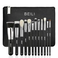 BEILI 12 Pieces Black Premium Goat Hair Synthetic Powder Foundation Blusher Eye Shadow Concealer Makeup Brush
