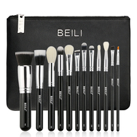 BEILI 12 Pieces Black Premium Goat Hair Synthetic Powder Foundation Blusher Eye Shadow Concealer Makeup Brush