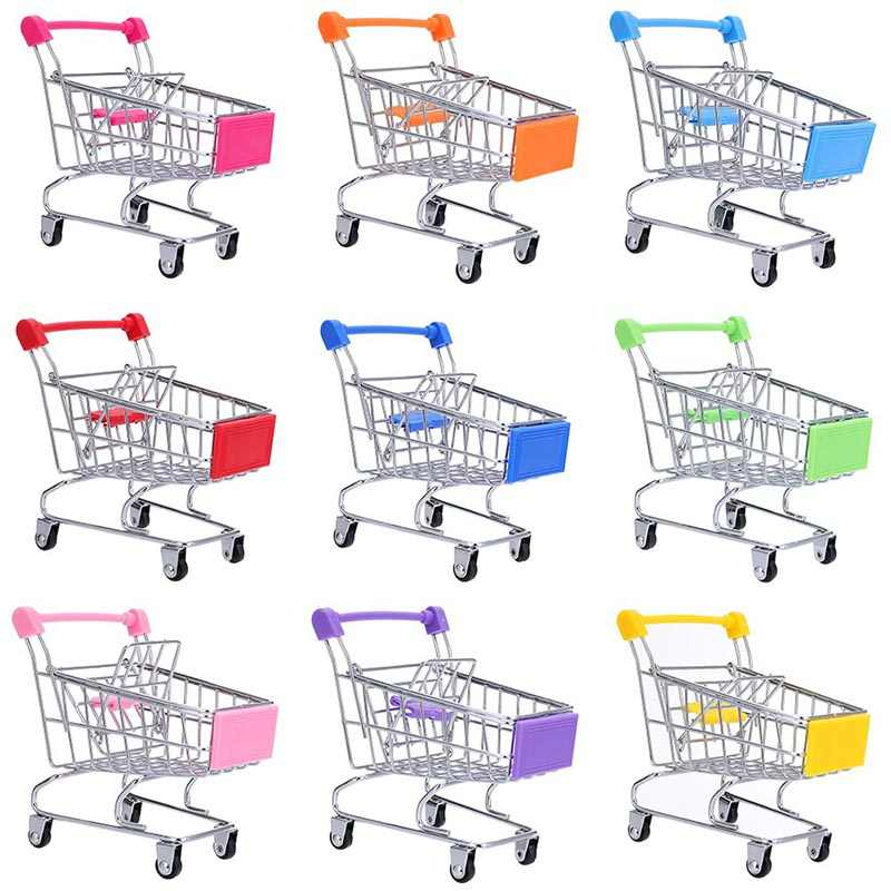 Creative Mini Children Handcart Simulation Small Supermarket Shopping Cart Utility Carts Basket Educational Play Toys Strollers