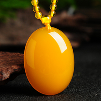 Natural yellow beeswax chalcedony egg face large pendant atmospheric men and women pendant with high grade beads chain