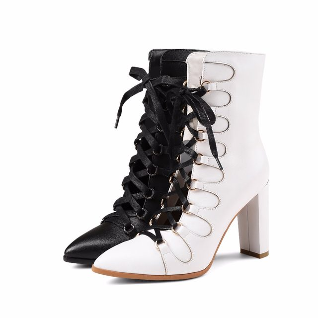 online shop wetkiss rome sexy cross tied ankle boots mature women's