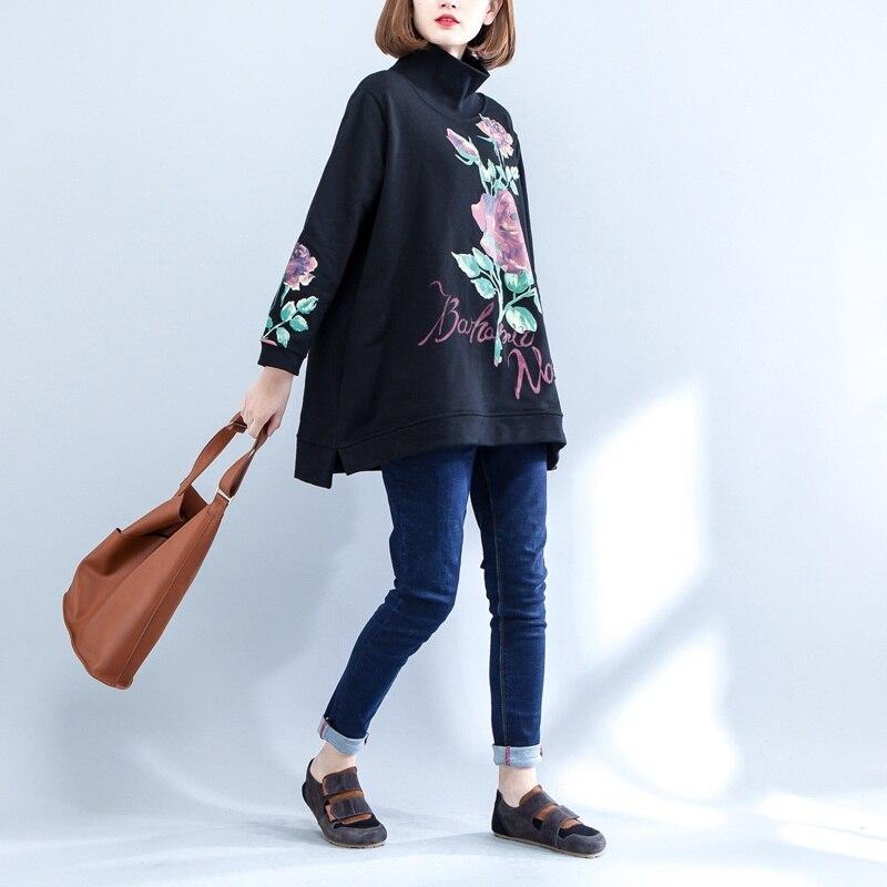 NYFS 2018 New Style Autumn Winter women hoodies Loose Cotton Turtleneck pullover jacket Coat