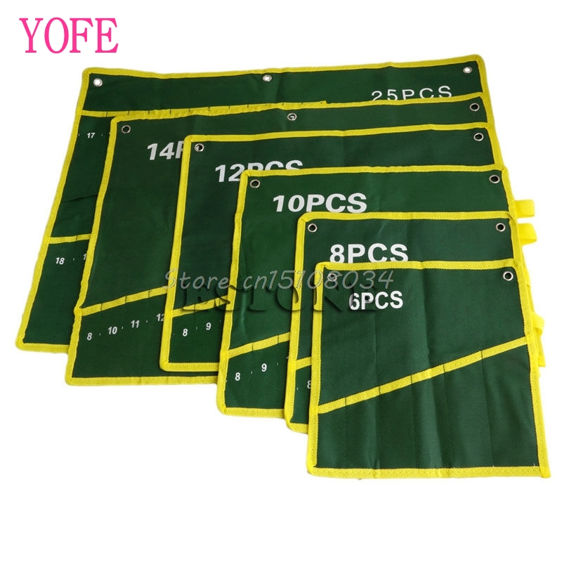 Durable Canvas 6/8/10/12/14/25 Pockets Spanner Wrench Tool Roll Up Storage Bag S08 Wholesale&DropShip