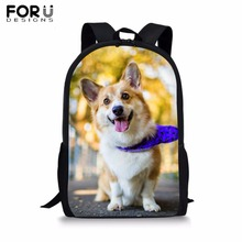 FORUDESIGNS Welsh Corgi Pembroke Print School Bag for Boy Girls Student Black Book Kids Custom Your Dog Backpack Satchel