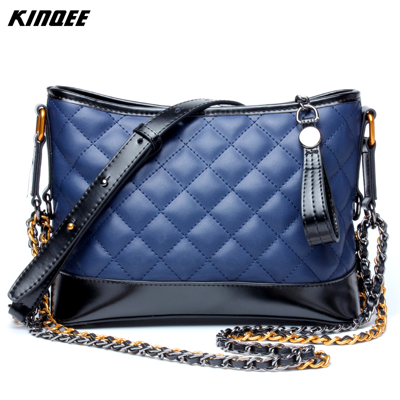 Diamond Lattice Sheepskin Genuine Leather Hobo Style Messenger Handbags Patchwork Chain Women Bags Luxury Designer Tote Bag hmily genuine leather crossbody bag female diamond lattice messenger bag luxury socialite daily bag chaibs style women bag