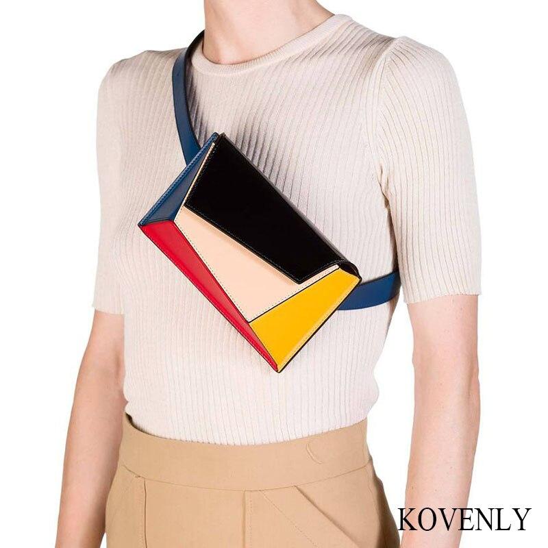 Women Fanny Pack Girl Leather Belt Bag Irregular Shape Waist Bag Lady Vintage Waist Pack Girl Casual Chest Bag Shoulder 062601