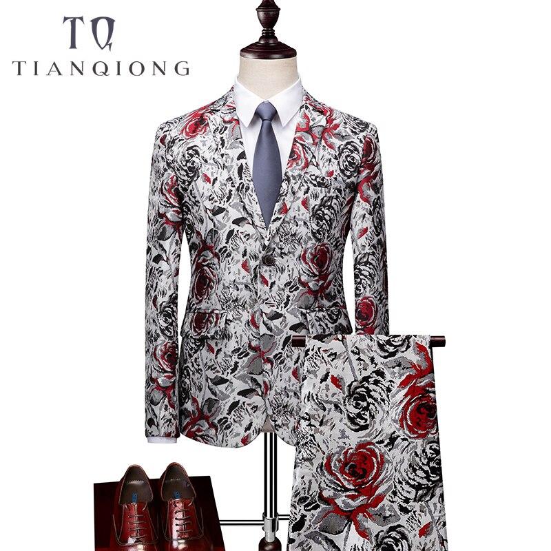 Men's Print Prom Performance Suit Clothing 2018 New Luxury 3 Piece Jacket Pants Vest Suits Slim Fit Business Dress Suit Jacket