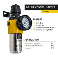 LEMATEC 1/2'' Air Compressor Moisture Water Trap Filter Regulator With Mount Holder Source Treatment Unit