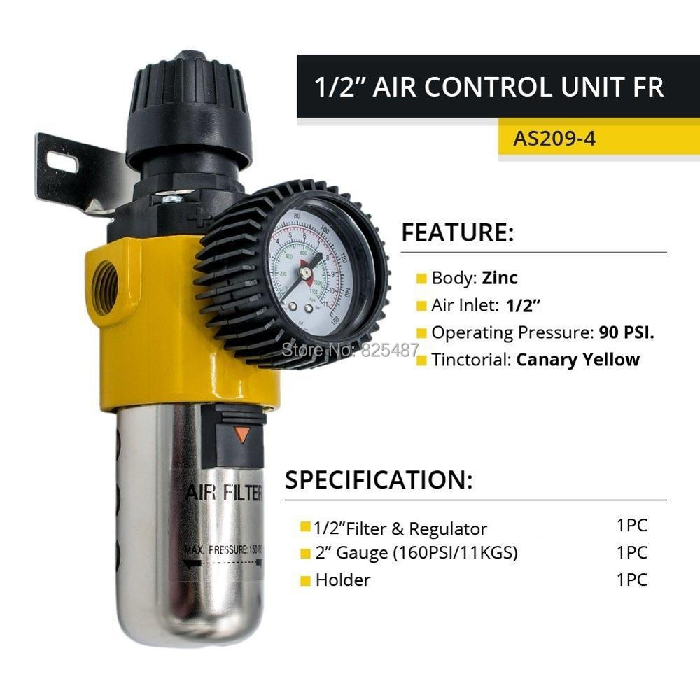 LEMATEC 1/2 ''régulateur de filtre de piège à eau d'humidité de compresseur d'air avec l'unité de traitement de Source de support de bâti