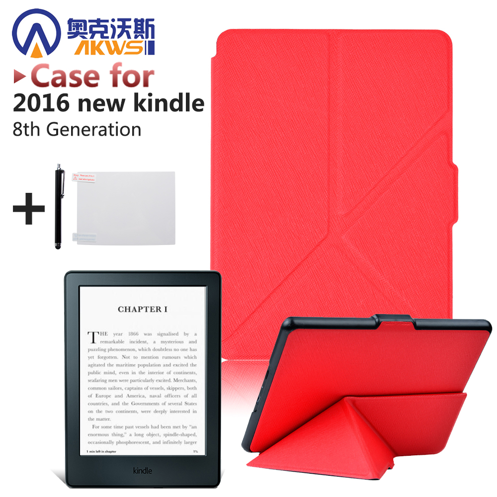 High quality origamil PU leather stand cover case smart case for 2016 All-New Kindle (8th Generation 2016)ereader cover case high quality faux leather stand cover case for pocketbook touch 622 623 624 626 ebook ereader