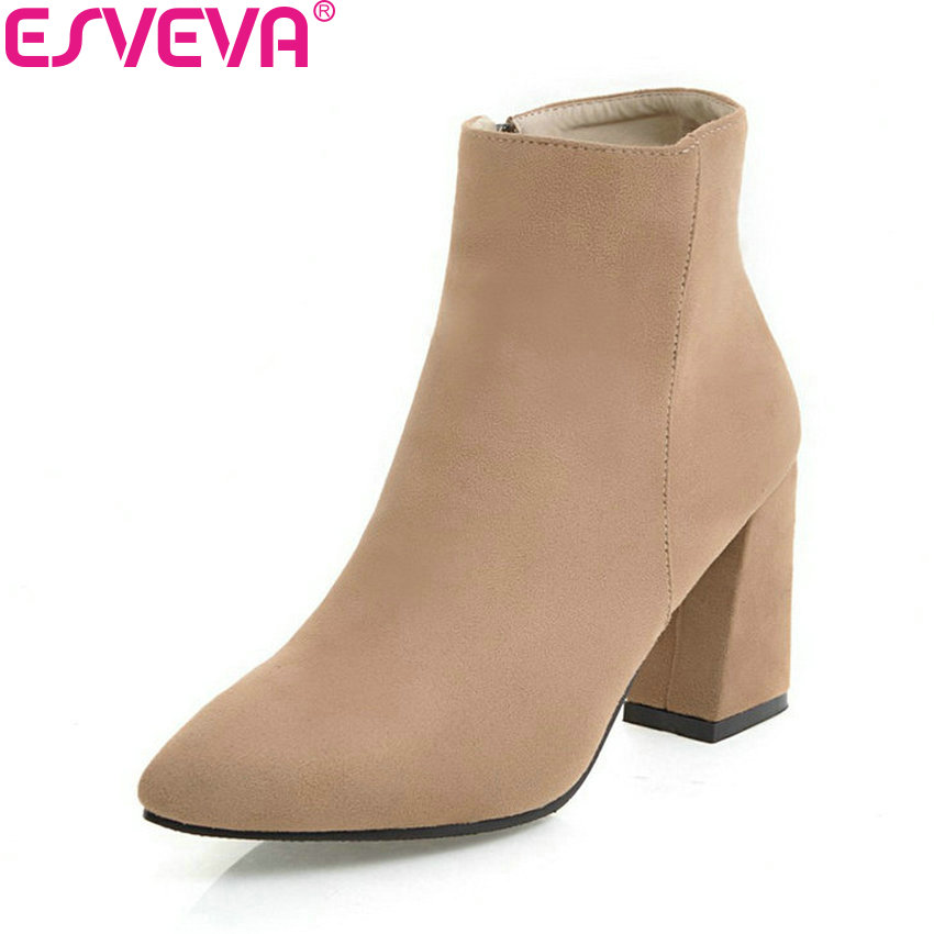 ESVEVA 2018 Women Boots Lining Short Plush Chunky Square High Heel Ankle Boots Slim Look Pointed Toe Ladies Boots Size 34-43 esveva 2018 women boots zippers black short plush pu lining pointed toe square high heels ankle boots ladies shoes size 34 39