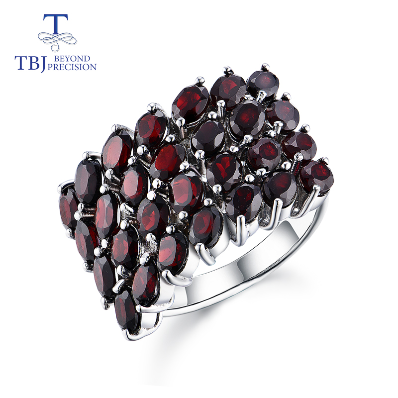 TBJ,new style natural gemstone black garnet rings 925 sterling silver fine jewelry for woman anniversary & birthday nice gift