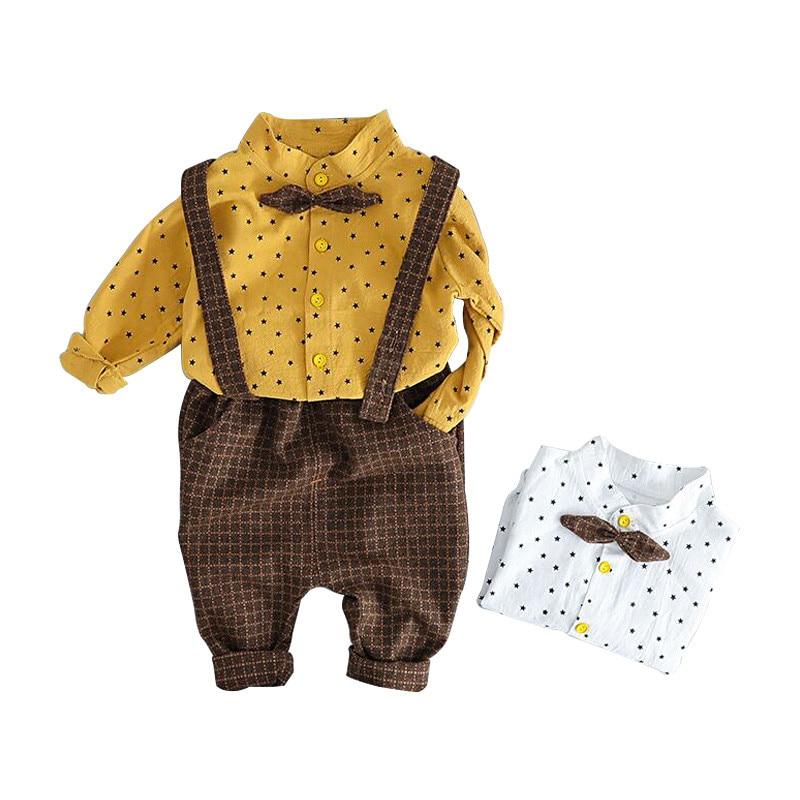 Baby frühjahr und herbst kleidung gentleman stil männlichen baby kleidung anzug hemd bib hosen kinder bib zwei-stück