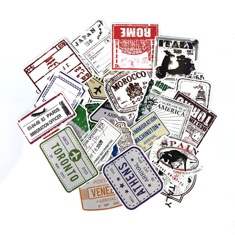 [A LOT]  Personality Retro Postmark Stamp Aviation Sticker European and American Wind RIMOWA Travel Suitcase