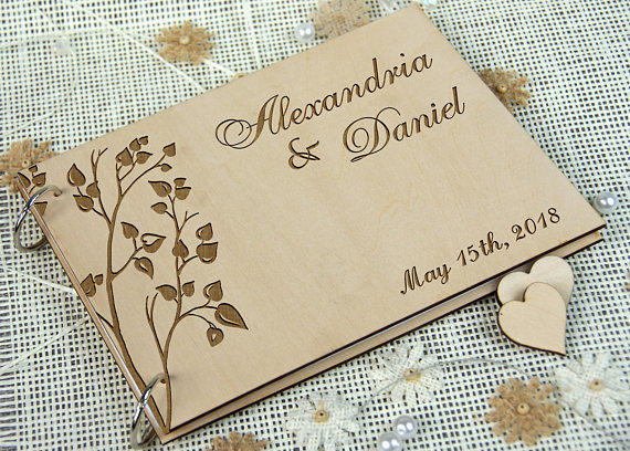 personalized wedding anniversary bridal shower guest book wedding favor retirement book sign in book rustic chic