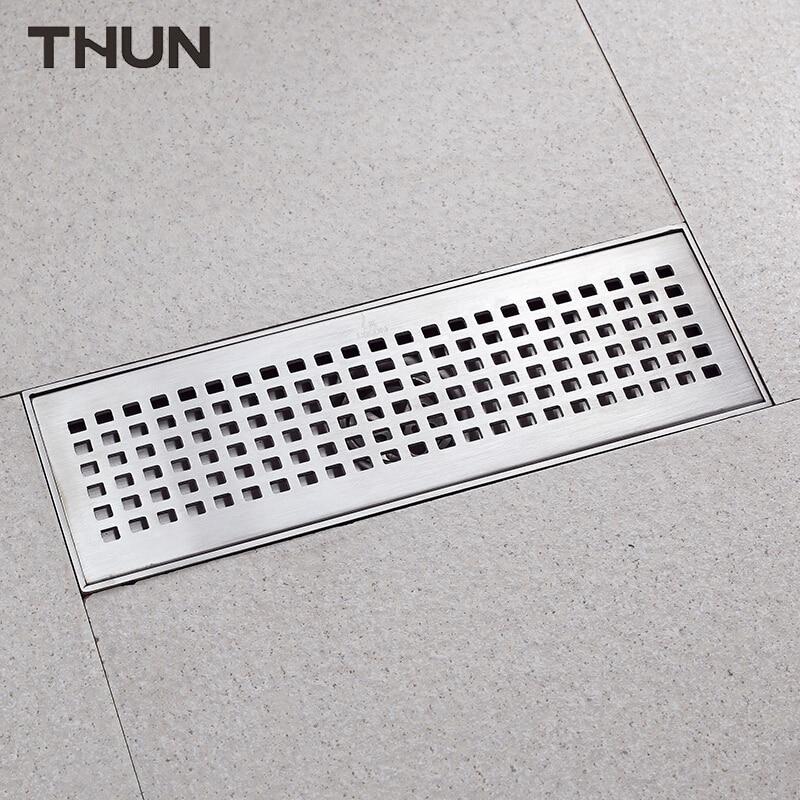 THUN Drains Drain Colander Floor Drain Strainers Covers Anti-odor 100*300mm Square 304 Drains Bathroom Invisible Shower Drainer