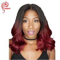 Hesperis 1b Red Front Lace Human Hair Wigs Wave Ombre Short Human Hair Wig For Black