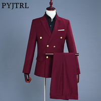 PYJTRL Brand Wine Red Groom Tuxedo Wedding Singer Suits Double Breasted Slim Fit Suit Prom Dresses Fashion Casual Suit Men