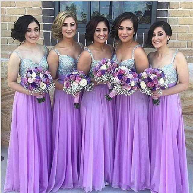 Prettiest Lavender Silver Sequined Flowing Chiffon Bridesmaid Dresses Long Empire Women Wedding Maxi Gowns