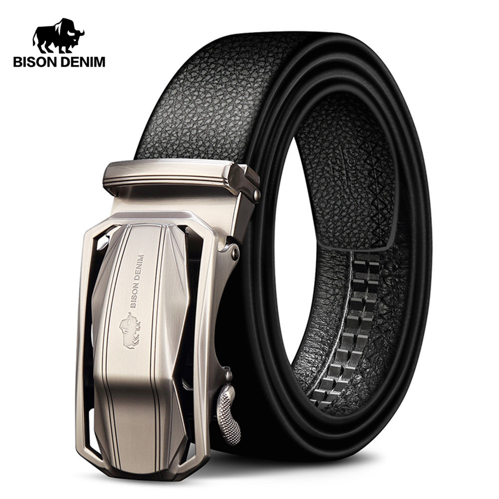 BISON DENIM Brand Men's Belt Genuine Leather Male Belts Male Automatic Buckle Casual  Business Men Belt Strap 3.4 Width N71283
