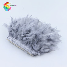 2 Meters fluffy Beautiful Turkey feathers ribbon fringe 4-6inch turkey feather trimming for carnival costumes DIY Clothing