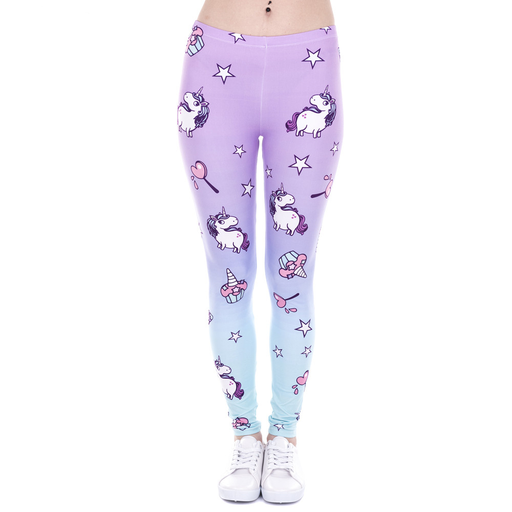 Brand New Fashion Women Leggings Unicorn And Sweets Printing Leggins Fitness Legging Sexy High Waist Woman Pants