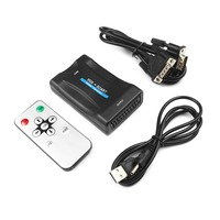 VGA To Scart Video Converter Scaler Switcher Overscan Underscan For PC Computer Projector For NTSC PAL