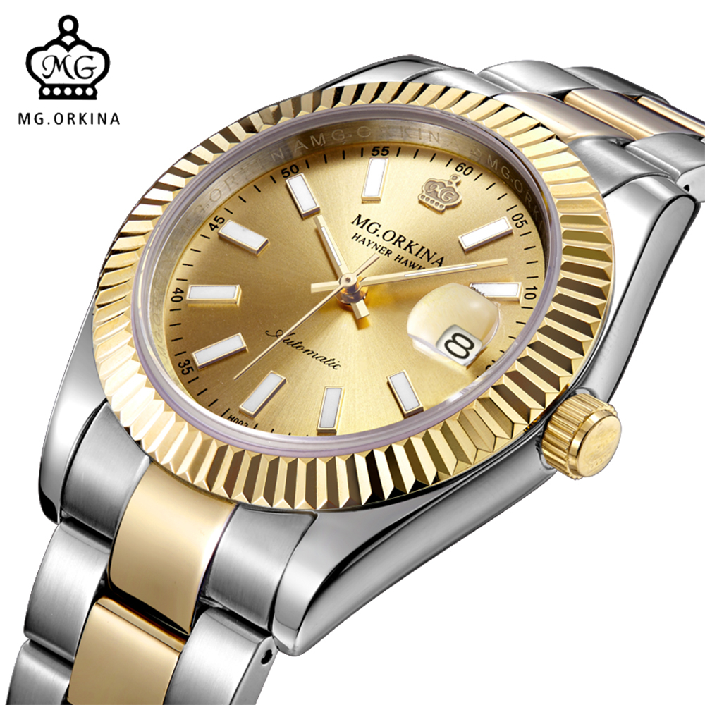 MG. ORKINA Designer Watches Men Water Resistant Mechanical Male Wristwatches Reloj Hombre Stainless Steel Case Golden Clock купить недорого в Москве