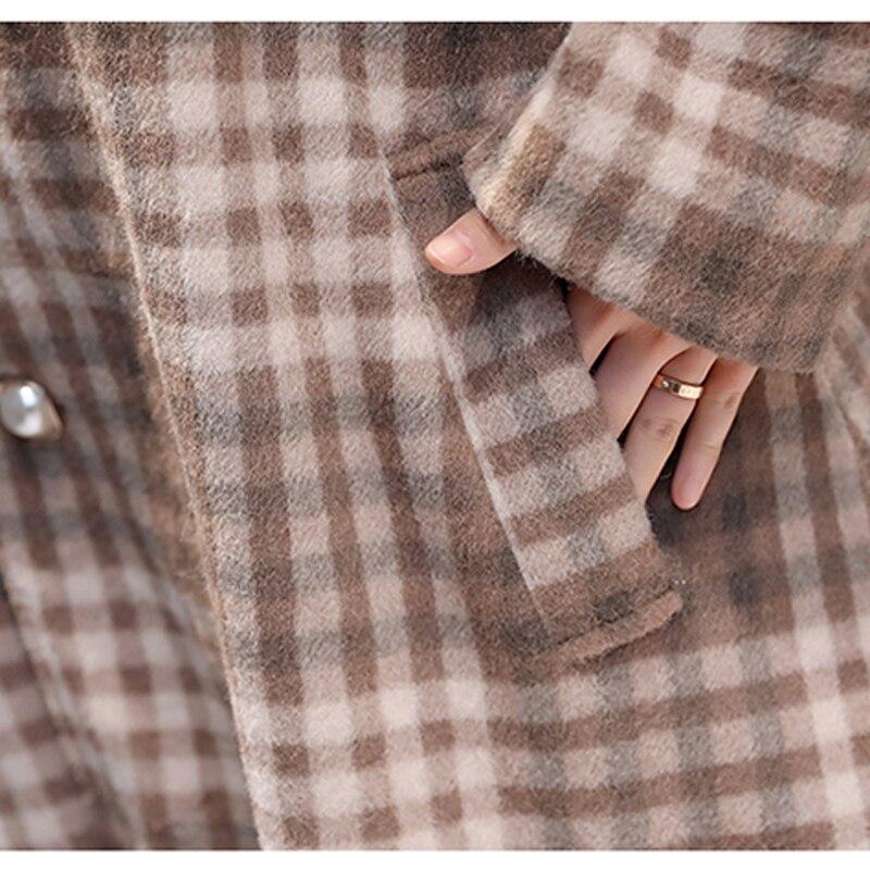 Tamaño Plus Abrigos Grande Khaki purple Lana De Primavera Ropa pink Invierno Caliente Plaid Púrpura 2019 Vintage Abrigo Mujer Cachemir nPwzw7qv