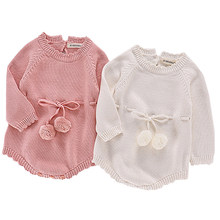 Autumn Baby Knitted Rompers Sweater Baby Girl Long-sleeve Knitted Overalls Infant Girl Princess Cotton Clothes Baby Girl Romper(China)