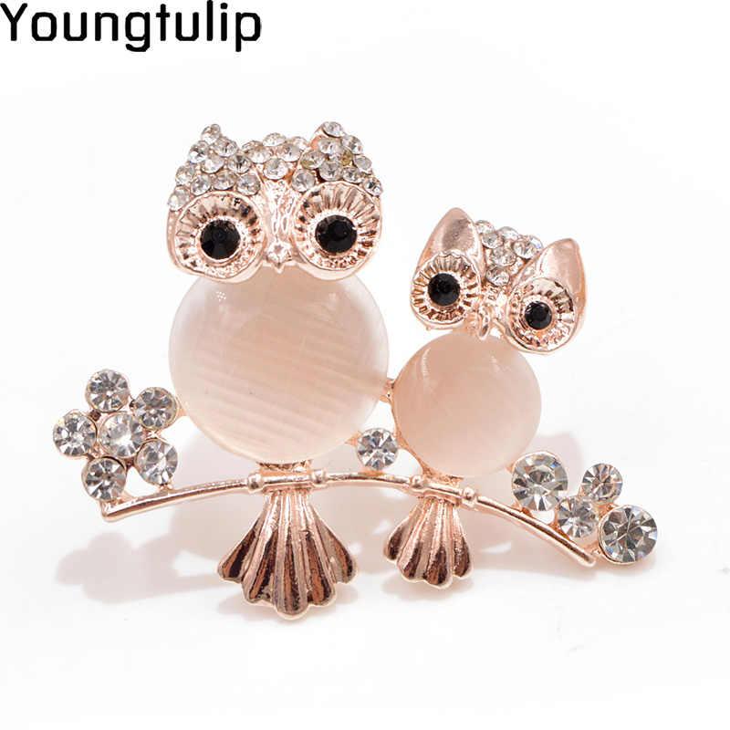 Muda Tulip Indah Opal Mengkilap Burung Wanita Bros Pin Kristal Berkilau Perhiasan Enamel Aksesoris Pakaian untuk Gadis Hadiah