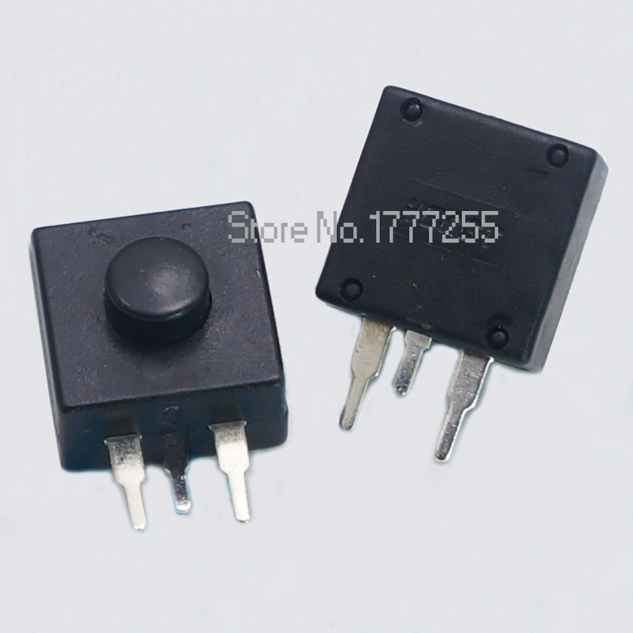 500pcs <font><b>DC</b></font> <font><b>30V</b></font> 1A 3Pin Black Mini Push Button Switch for Electric Torch <font><b>12</b></font>*12mm 3P 2 On 1 Off Flashlight Switchs image