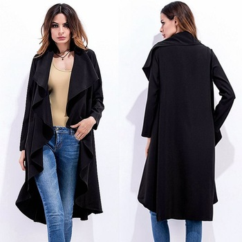 Tenygo Venta caliente mujeres gran solapa salvaje Irregular cárdigan de manga larga abrigos gabardina punto media edad mujer abrigo