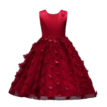 CAILENI Girls Dress Flower Children Party Dresses Elegant Floral Baby Mesh Birthday Frocks Kids Wedding Clothing for Girl