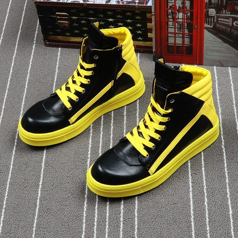 Sneakers forme Plate Hip Hop jaune Bottines De Haute Chaussures Épais Cuir Top Appartements Hommes Décontracté Noir Peluche Mode En rouge Panda Lacets Botas XuPkOTwZi