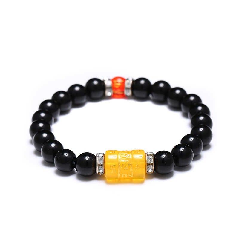 チベット仏教 6 ワードのマントラビーズ勇敢な兵士ブレスレットメンズ/女性幸運お守り Om mani パドメ hum 宝石類のギフト