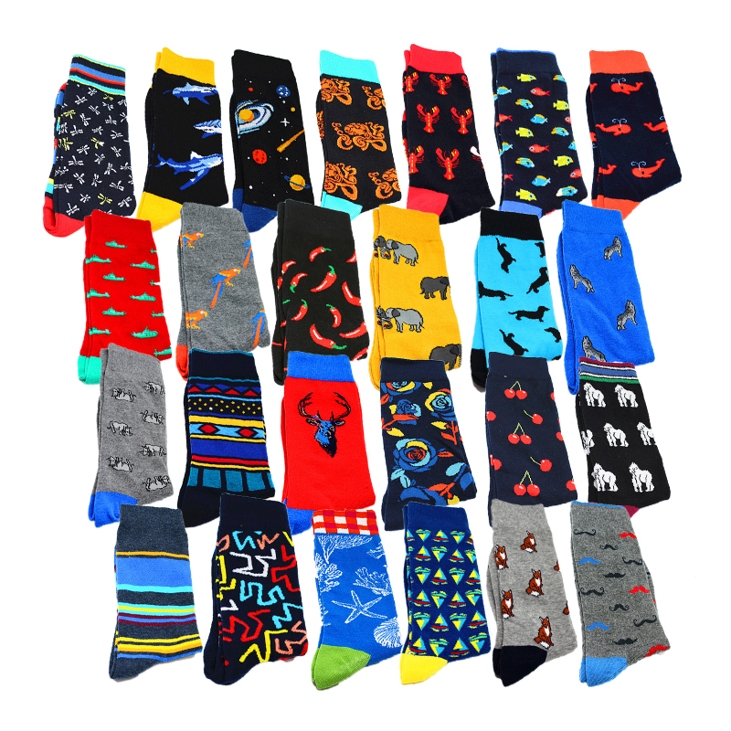Men's Socks Harajuku Happy Funny Crew Socks Animal Lobster Dog Whale Food Chili Dress Socks Men's Wedding Christmas Gifts