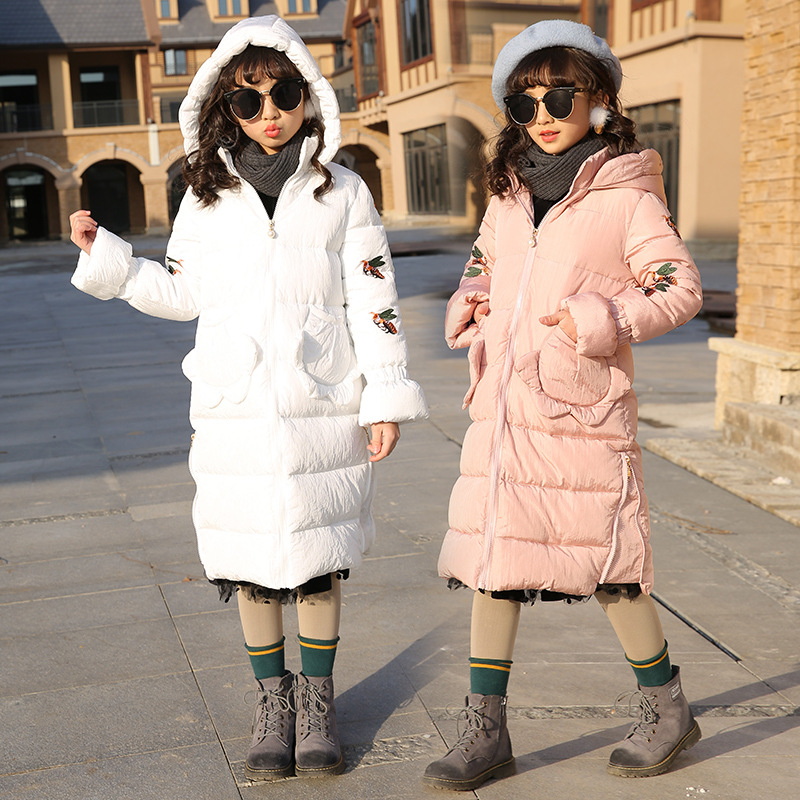 Girl Winter Coats Kids Down Jackets 2018 Cotton Padded Long Thicken Warm Jackets Hooded Fashion Baby Snow Suit 7 8 9 10 11 12 13 цена
