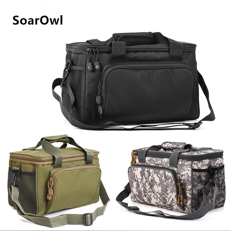 Large Waterproof Fishing Tackle Bag Case Bait Box Shoulder Strap Pocket Fishing Gear Canvas Bag three color optional-in Fishing Bags from Sports & Entertainment