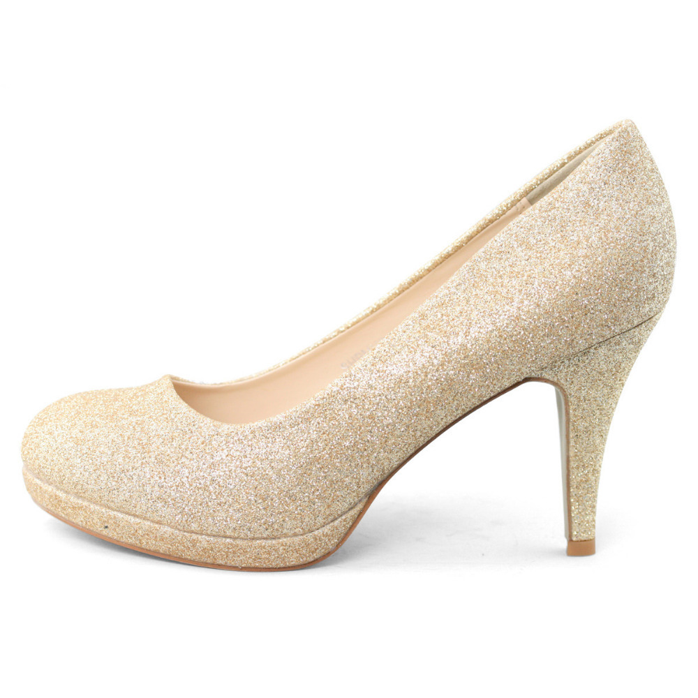17d5fd35d471 SHOEZY Brand gold glitter wedding shoes party prom bridal bridesmaid high  heels pumps sparkly handmade shoe closed toe platform-in Women s Pumps from  Shoes ...