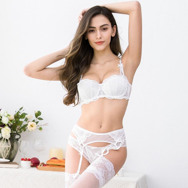 Ensemble sexy dentelle push up sous-vêtements soutien-gorge + culotte + jarretière + bas 4 pièces