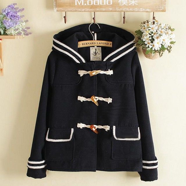 Autumn College Wind Women Coat Jacket Hooded Wool Coat Outerwear Naval Academy Horn Button Cotton Jacket Loose Clothing