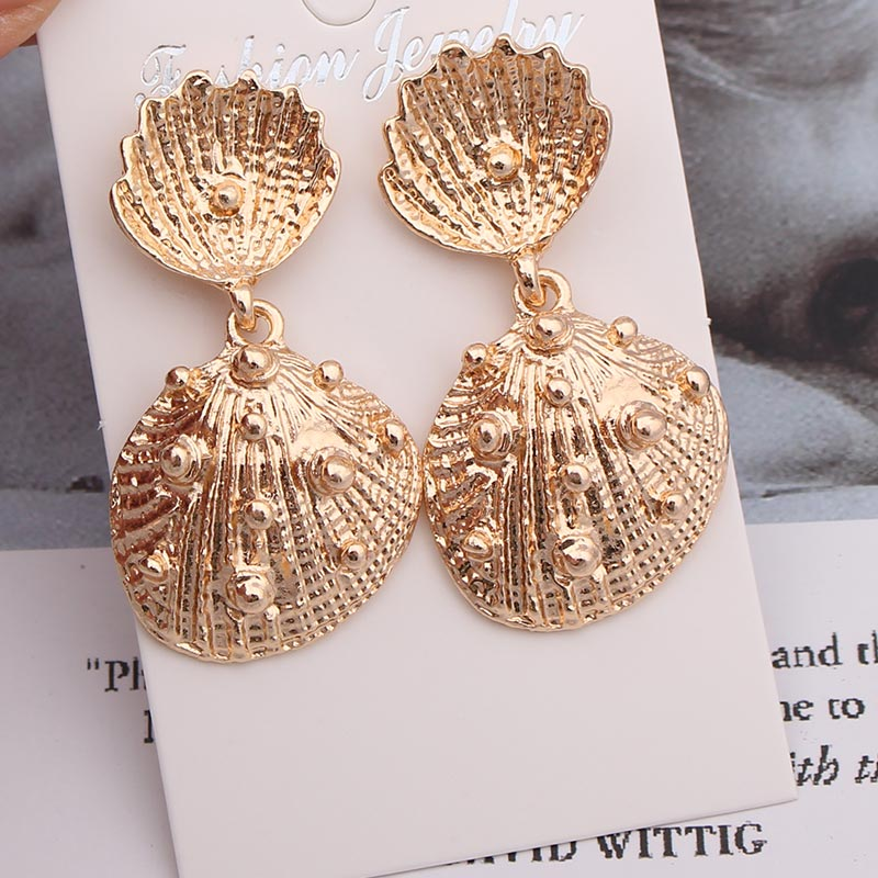 <font><b>Gold</b></font> <font><b>Drop</b></font> <font><b>Earrings</b></font> <font><b>Jewelry</b></font> <font><b>Earrings</b></font> <font><b>Elegant</b></font> Korean Wedding Statement Starfish Turtle Cowrie Shell Sea Star <font><b>Earrings</b></font> Long Dangle image