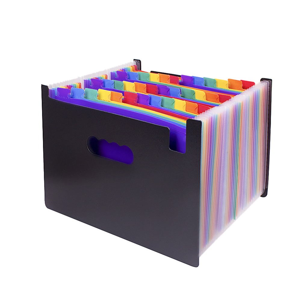 48 Pocket Expanding For Files Folder-Plastic Rainbows Files Organizers A4 Letter Size For Portable Documents Holder Wallet Files
