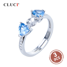 CLUCI 3 pièces argent 925 anneaux pour femmes perle anneau de montage faisant 925 en argent Sterling réglable bleu Zircon anneaux SR2176SB