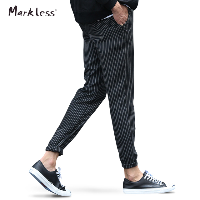 Markless 2016 Autumn Men's New Thin Brand Pants Casual Striped Pencil Pants For Man Clothing Fashion British Style Trousers