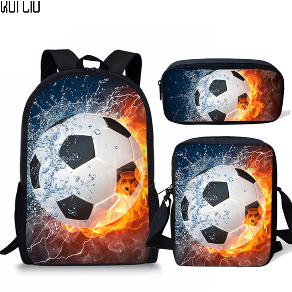 Children 3PCS SchoolBag Set For Boys Girls 3D Ice And Fire Soccerly Foot Ball Pattern Orthopedic Backpack Kids Book Bags