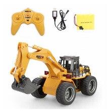 Huina Toys 1530 шестиканальный 6ch 1/12 Rc металлический экскаватор с дистанционным управлением, игрушки с зарядным аккумулятором, детские игрушки, рождественские подарки