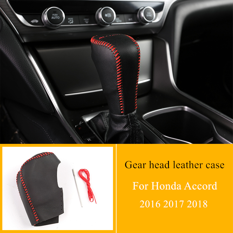 Car Gear Lever Non-slip Leather Case Hand-stitched Genuine Leather Decorative Accessories For Honda Accord 2016 2017 2018